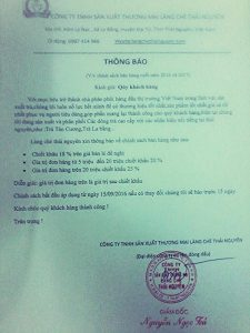 Công ty TNHH SXTM Làng Chè Thái Nguyên thông báo giá bán Chè Thái Nguyên