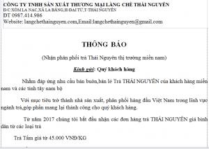 Thông báo bán buôn,bán lẻ Trà Thái Nguyên tại Miền Nam